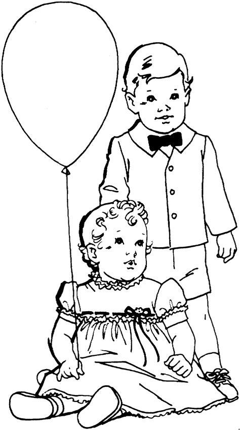 bruder mit schwester ausmalbild malvorlage kinder