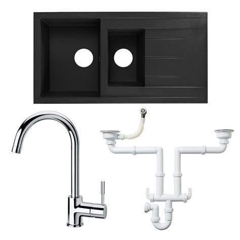 kitchen taps and sinks cooke lewis 1 5 bowl black resin sink lever tap waste 6229