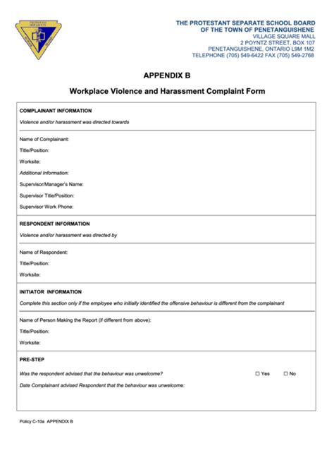 workplace violence  harassment complaint form printable