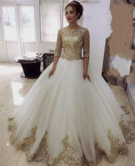 Gold Wedding Dress With Sleeves Naf Dresses