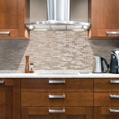 decorative wall tiles kitchen backsplash smart tiles bellagio sabbia approximately 3 in w x 3 in h ivory and beige decorative mosaic