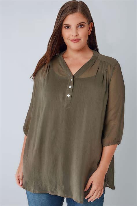 sheer chiffon blouse khaki sheer chiffon button up blouse with 3 4 length