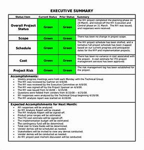 project status executive summary template sample project With executive summary project status report template