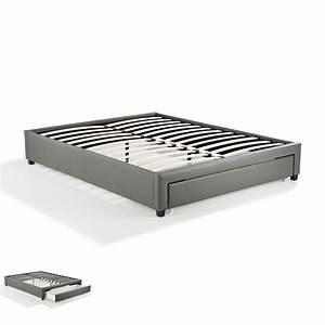 Lit 160x200 Tiroir : cadre lit 160x200 avec tiroir gris drawy maison et styles ~ Teatrodelosmanantiales.com Idées de Décoration