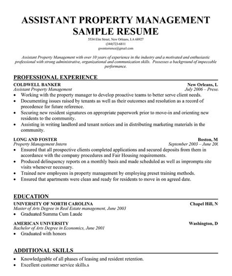 sle resume format assistant property manager resume