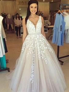 elegant a line v neck lace wedding dresses lace prom With v neck lace wedding dress