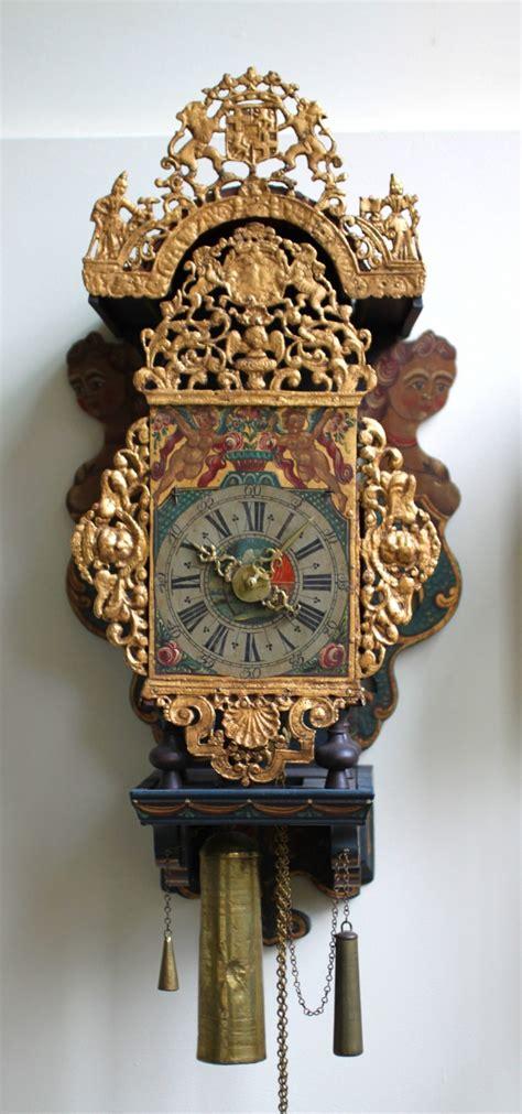 attractive frisian wall clock  utrecht coat  arms