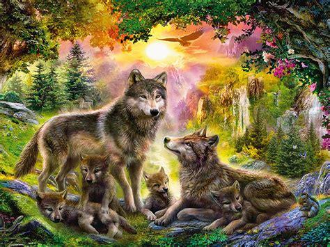wolf families animal art wallpaper hd