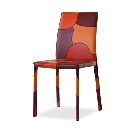 chaise de sejour chaise de séjour en croûte de cuir patchwork 4 pieds