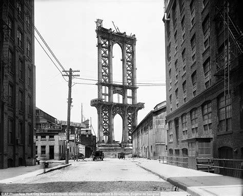 Dumbo Then And Now Manhattan Bridge Construction In 1908