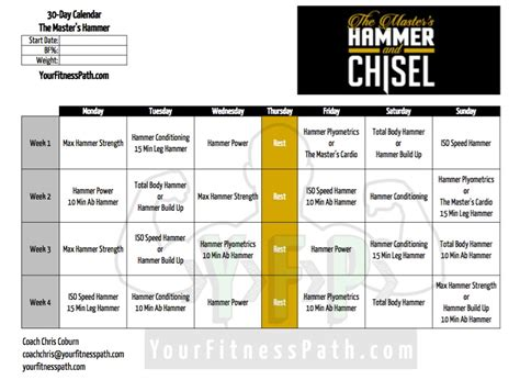 hammer and chisel workout calendar your fitness path