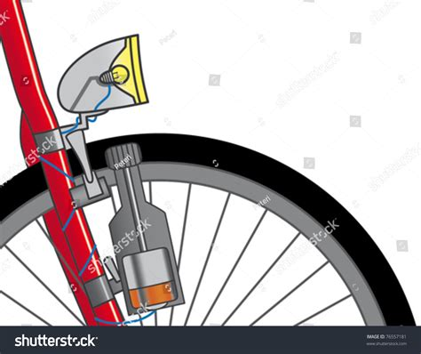 dynamo bike light dynamo on bicycle ecological source energy stock vector