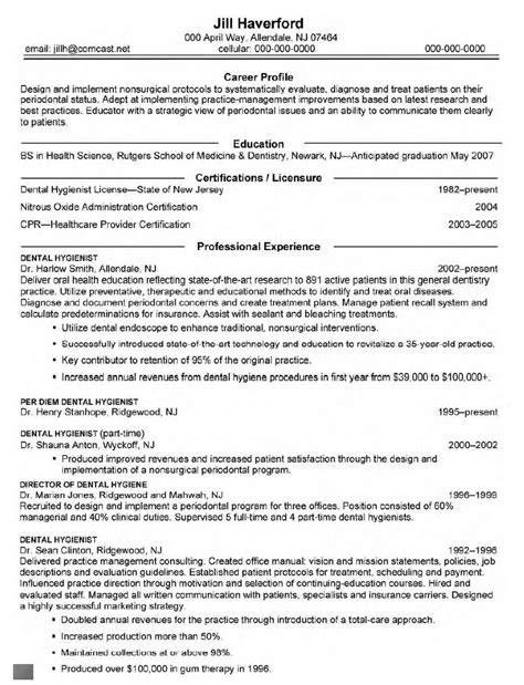 Dental Hygiene Resume Exles by Curriculum Vitae Sles For Dentist