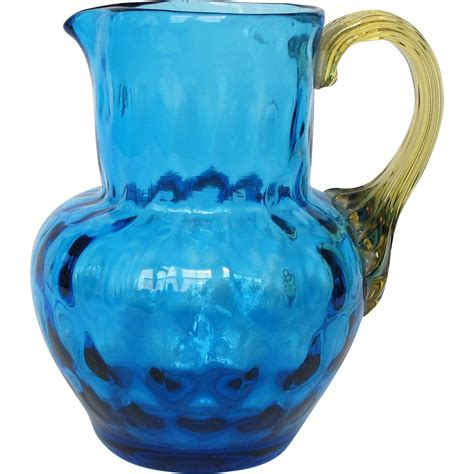 vintage blue glass creamer small pitcher  amber