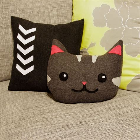 cat pillow kitty cat decorative pillow in gray and pink