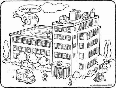 Hospital Pages Coloring Colouring Building Buildings Drawing