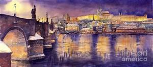 Charles Bridge And Prague Castle With The Vltava River