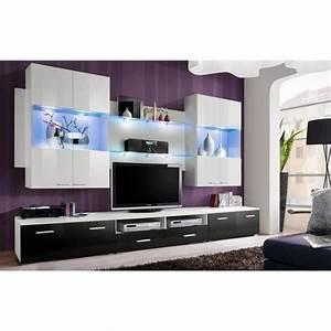 Meuble De Salon Meuble TV Design Complet SPACE Blanc Et
