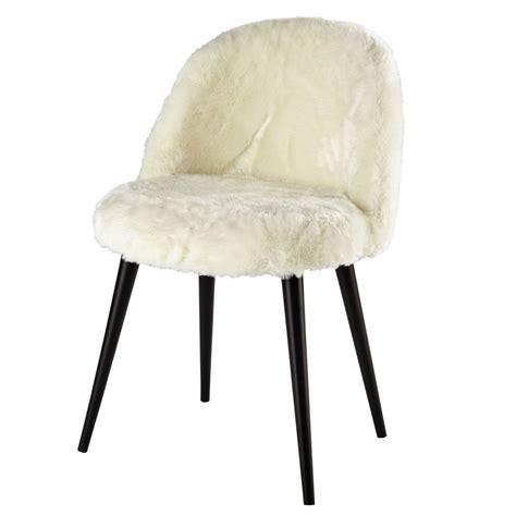 chaise de bureau vintage ivory faux fur and solid birch vintage chair in black