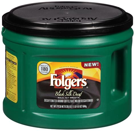 Does decaffeinated coffee have caffeine in it? Folgers Black Silk Decaf Decaffeinated Ground Coffee, 20.6 oz. Canister