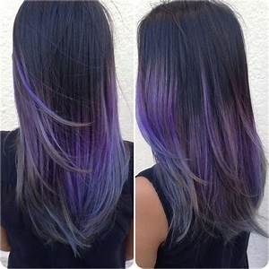 Black to Lavender to Silver Ombre - Hair Colors Ideas
