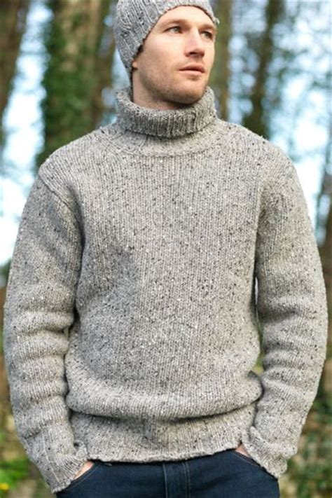 mens wool turtleneck sweater mens turtleneck polo neck rib donegal wool fall winter