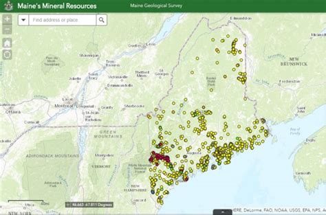geological survey and mines bureau map of mineral resources in maine