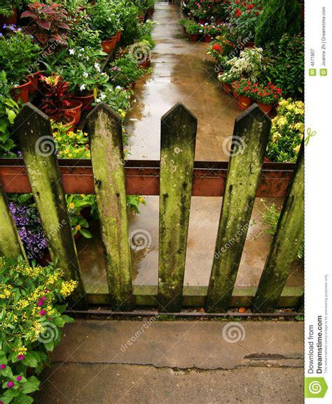 wooden garden gate lichen stock image image