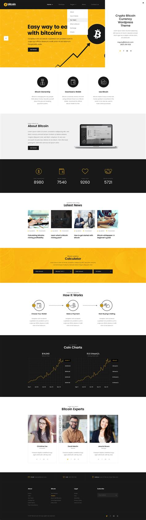 Bcoin,bitcoin website template that you can use it as bitcoin exchange website template. Bitcoin - ICO and Cryptocurrency PSD Template | Bitcoin, Web template design, Psd templates