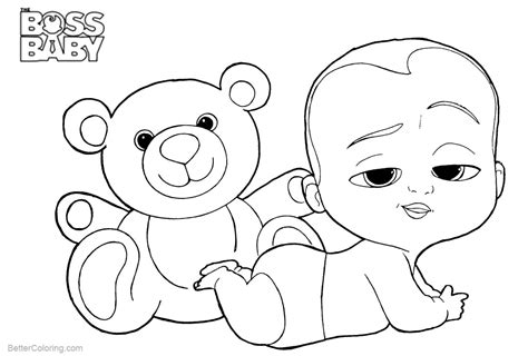 Boss Baby Coloring Pages With His Bear