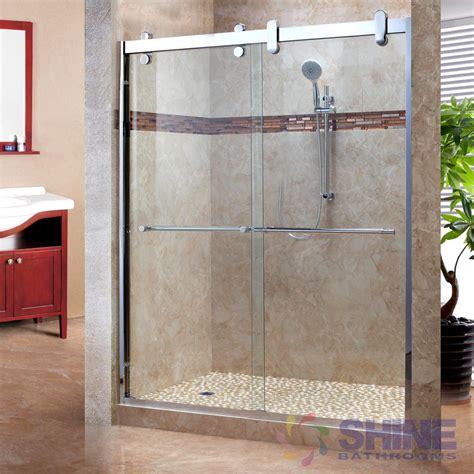 sliding frameless shower doors sl frameless sliding shower door shine bathrooms