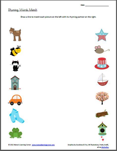 rhyming words match worksheet rhyming words worksheets