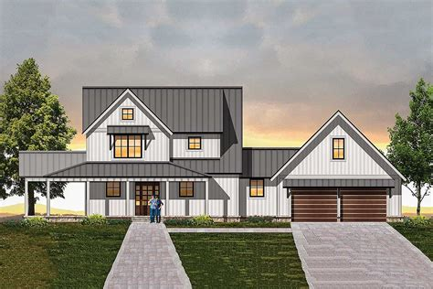 Modern Farmhouse Plan With Semi-detached Garage
