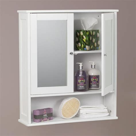 Mirrored Bathroom Cabinet With Shelves by Carre Bathroom Mirror 2 Door Wall Cabinet White Painted