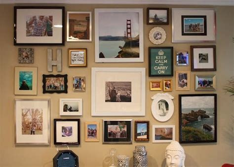 Photo Wall With Different Colored Frames And Shapes