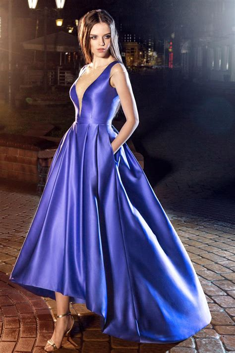 Papilio High-Low evening gown with plunging neckline and ...