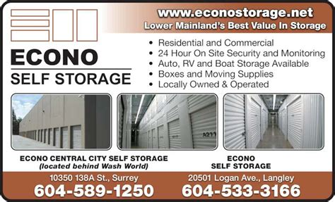 Boat Supplies Langley Bc by Econo Self Storage Opening Hours 20501 Logan Ave