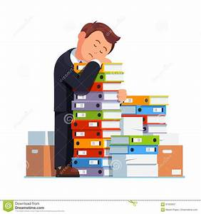 Tired Business Man Sleeping On Stacked Paper Pile Stock ...