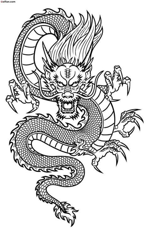 Black Outline Asian Dragon Tattoo Stencil