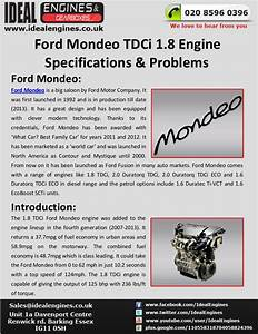 Ford Mondeo 1 8 Tdci Engine Specifications  U0026 Problems
