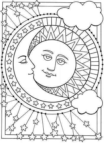 Coloring Moon Sun Pages Printable