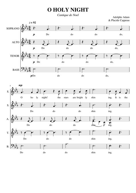 Ease of performance was the number. O Holy Night - SATB sheet music for Voice download free in PDF or MIDI