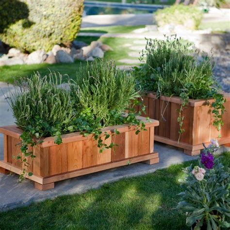 wood country rectangle cedar wood boise patio planter box