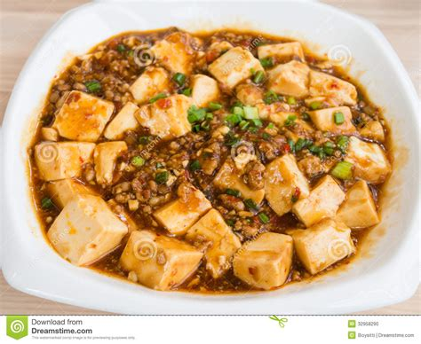 cuisine tofu tofu and mince with spicy sauce stock photo image