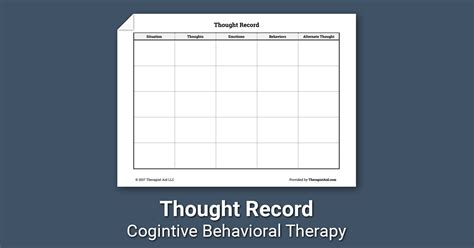thought record worksheet therapist aid