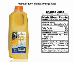 Orange Juice Bottle Nutrition Facts | www.pixshark.com ...