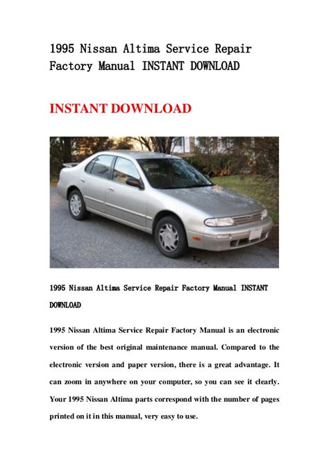 chilton car manuals free download 1995 nissan altima instrument cluster 1995 nissan altima service repair factory manual instant download