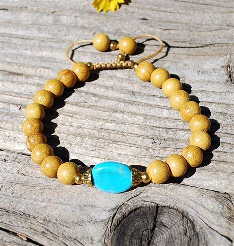 Mala Bracelet-Turquoise & Natural Wood - Sakura Designs