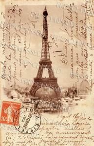 EIFFEL Tower French Script Antique 1902 PARIS by ...