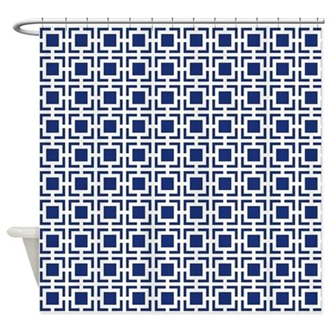 navy blue geometric lattice pattern shower curtain by